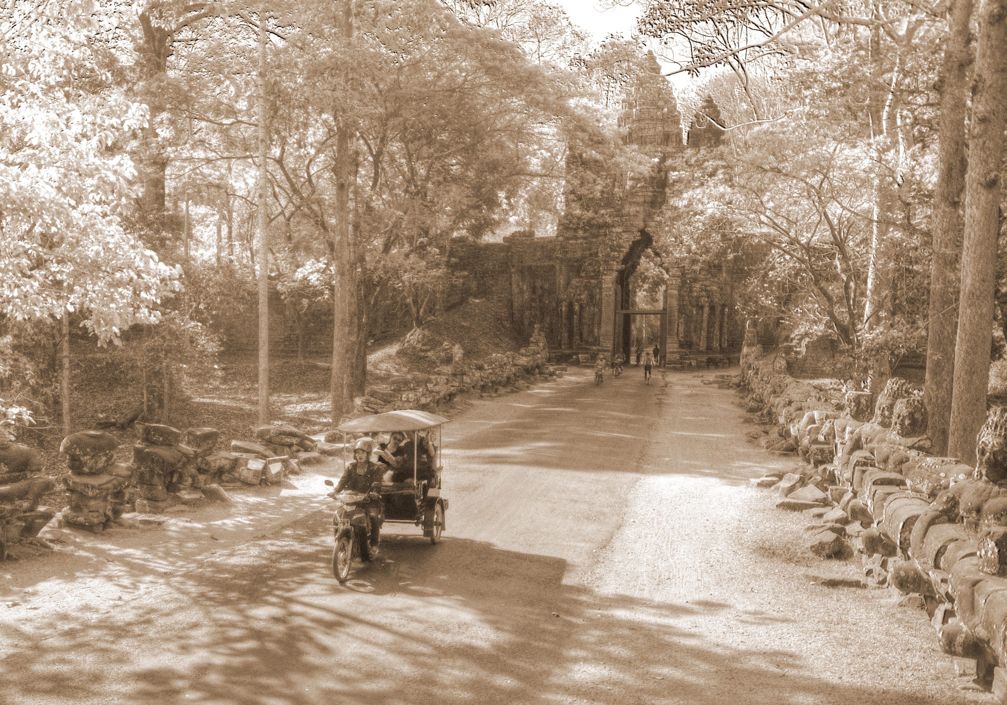 Road entering the Ancient city of Angkor Thom.