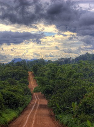 Red dirt road in Ratanakiri Province, Northeast Cambodia