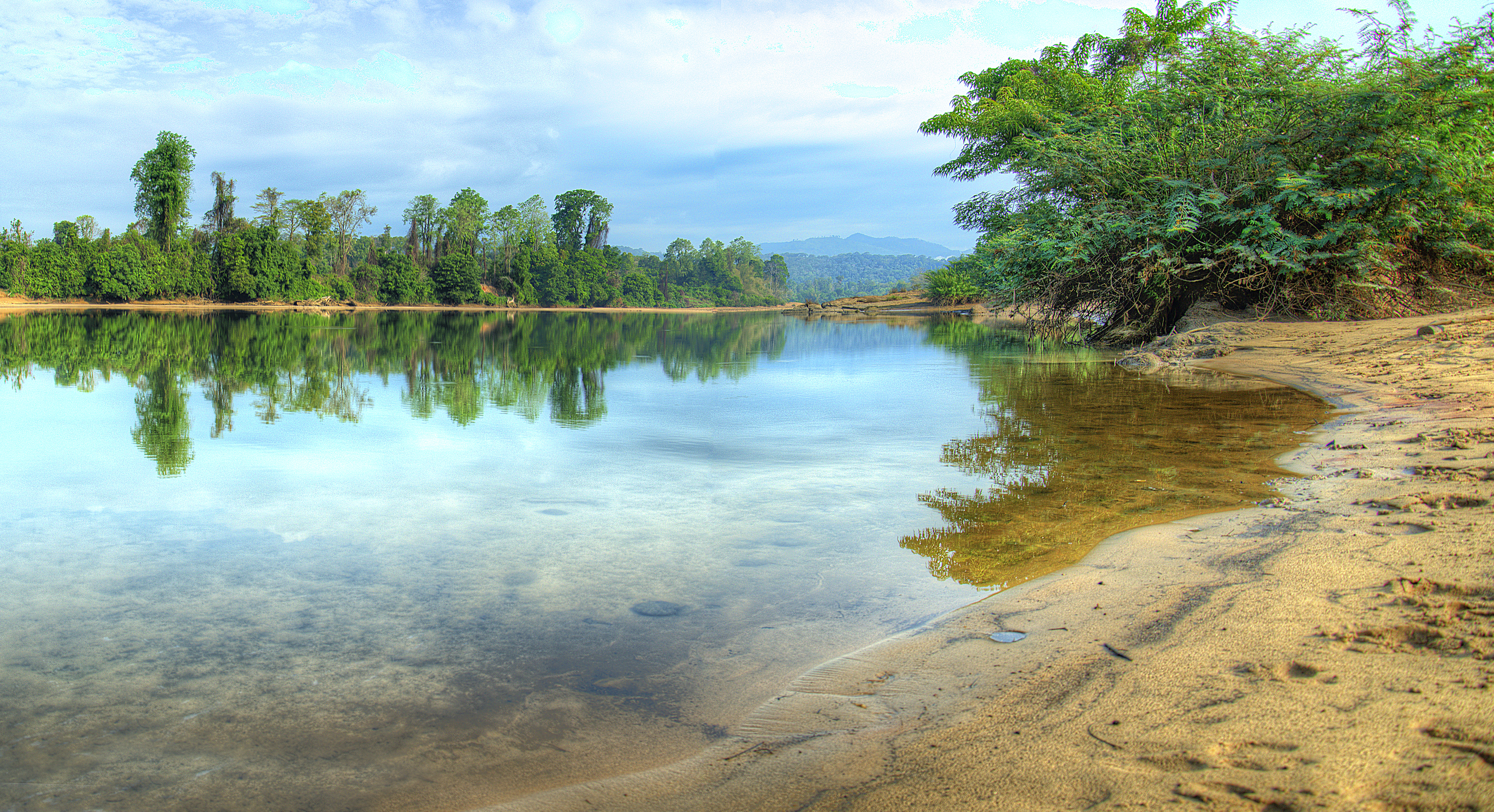 reflection off the river in North Ratanakiri